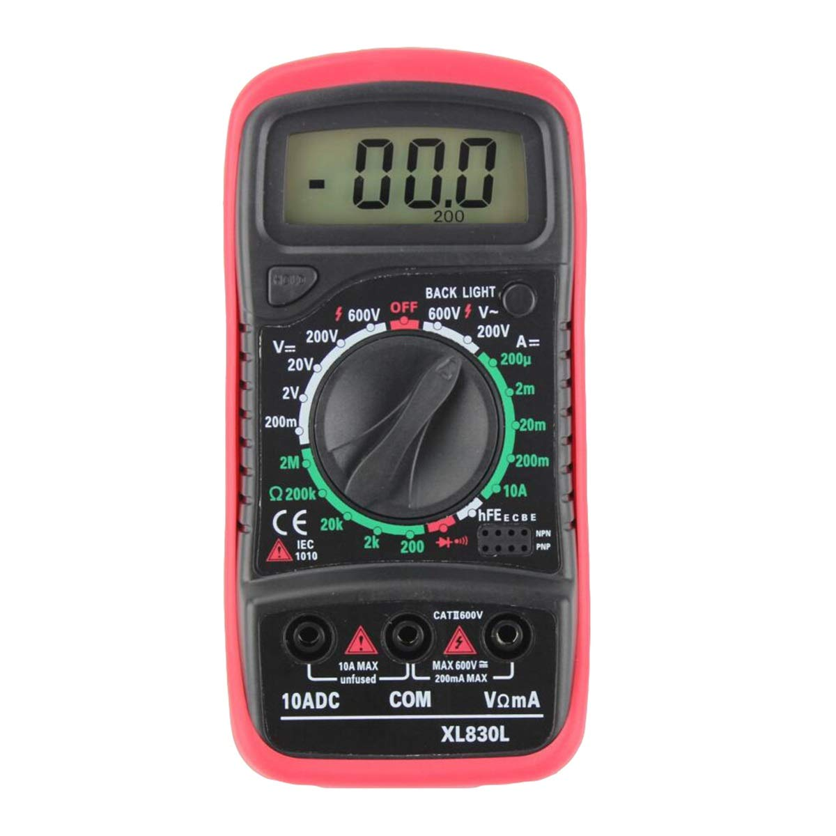 Hanpmy Multi Testers XL830L Digital LCD Multimeter Voltmeter Ammeter Color : Black No Cover