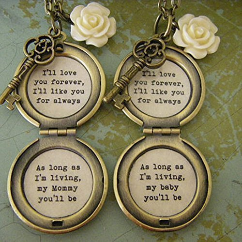 I'll love you forever I'll like you for always, my mommy you'll be, baby you'll be, Mother daughter necklace set, quote locket