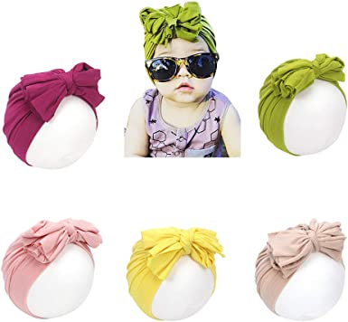 Newborn Baby Girls Soft Hat Head with Bow Soft Cotton Cap Infant Beanie Headband