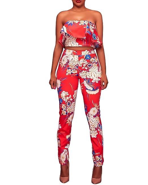 Mujer 2 Piezas Conjunto Elegantes Vintage Hippie Estampado Flores Sin Dulce Lindo Chic Bandeau Volantes Crop Top Y Pantalones Largos Verano Moda Conjuntos: ...