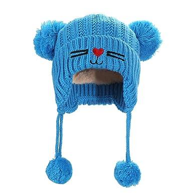 01e3b4da9a34 Transer 🐈 Enfants Chapeau d hiver Tricoté Mignon Chat Double Balle Beanie  Bonnet Crochet Hiver