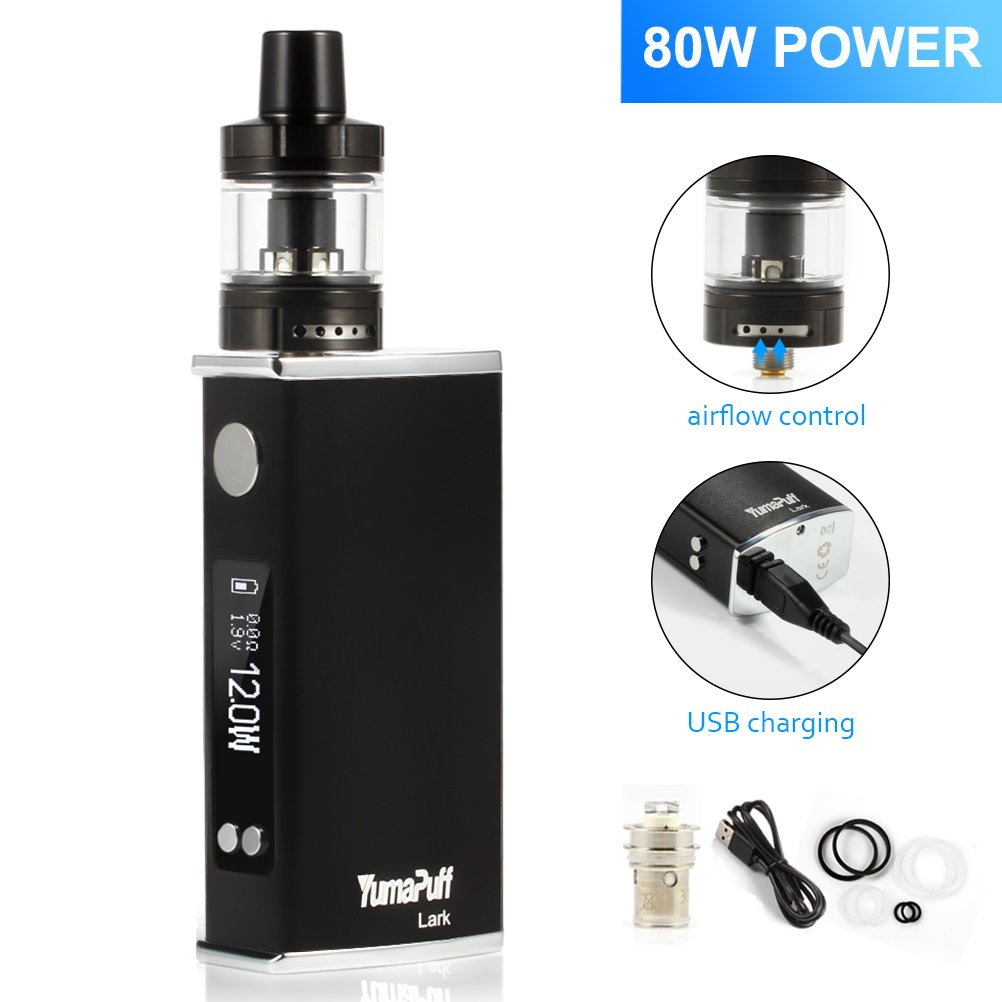 E Cigarette Kit, YumaPuff Lark Box Kit 80W Vapor Cigarrillo Electrónico Kit, Topfill 0.6/1.8ohm Sub Ohm Tank 2ml, OLED Caja Mod E Cig Vape Pen - No nicotina ...