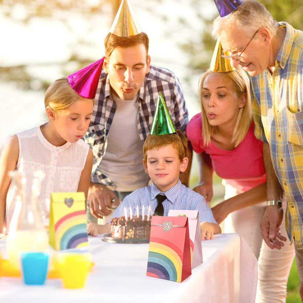 22 x 12 x 8 cm, 8 Colori Powcan 40 Pezzi Sacchetti di Festa Regalo Puntino Sacchetti di Carta Drogheria Sacchetti Craft Carta Sacchetti Pranzo Piatto Fondo Sacchetti di Carta