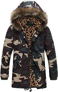 ZBSPORT – Giacca Invernale – Camo – Stampa Leopardo – con Cappuccio – Collo di Pelliccia – Cappotto – Slim Fit – Uomo