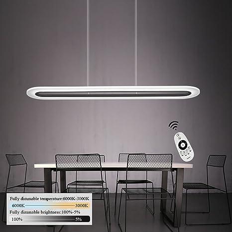 ZMH - Lámpara colgante de techo LED, 40 W, intensidad y altura regulables, tejido acrílico, para mesa de comedor, oficina, habitación, salón