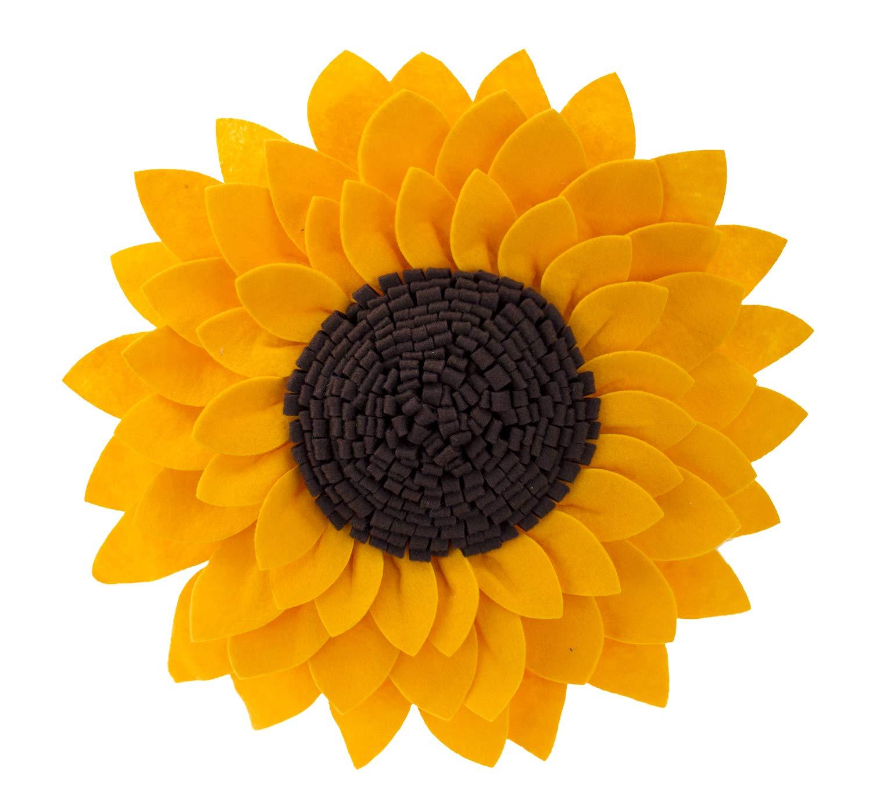 Fennco Styles Elegant 3D Sunflower Decorative Throw Pillow 13'' Round (Sunflower, Case Only)
