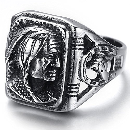 Indian Ring (Kstyle Jewelry Mens Stainless Steel Ring, Biker, Silver, Black, Indian, KR2222 (12))