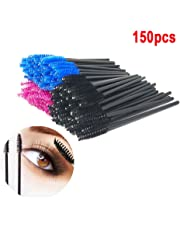 150 pcs Disposable Eyelash Brush Mascara Wands, QMAY Eyebrow mascara brush Eyelash Applicator Makeup Kits(Blue, Pink, Black) …