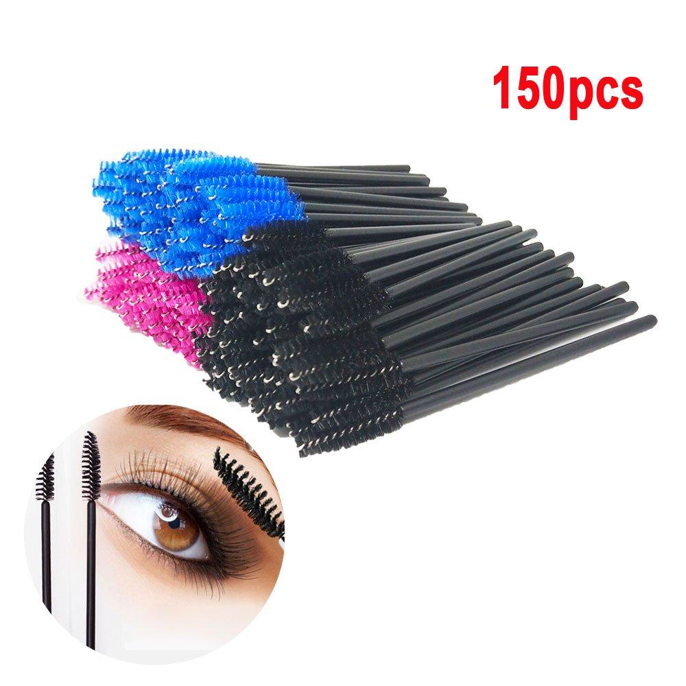 150 pcs Disposable Eyelash Brush Mascara Wands, QMAY Eyebrow mascara brush Eyelash Applicator Makeup Kits(Blue, Pink, Black)