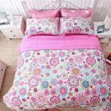Cozy Line Home Fashions 3-Piece Quilt Set, Mariah Pink Polka Dot Flower Lightweight Reversible Coverlet Bedspread, Bedding for Little Girls, Kids(Colorful Floral, Full/Queen - 3pc: 1 quilt + 2 shams )