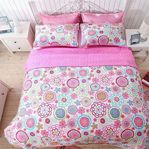 Shams Quilt Floral 2 (Cozy Line Home Fashions 3-Piece Quilt Set, Mariah Pink Polka Dot Flower Lightweight Reversible Coverlet Bedspread, Bedding for Little Girls, Kids(Colorful Floral, Full/Queen - 3pc: 1 quilt + 2 shams ))