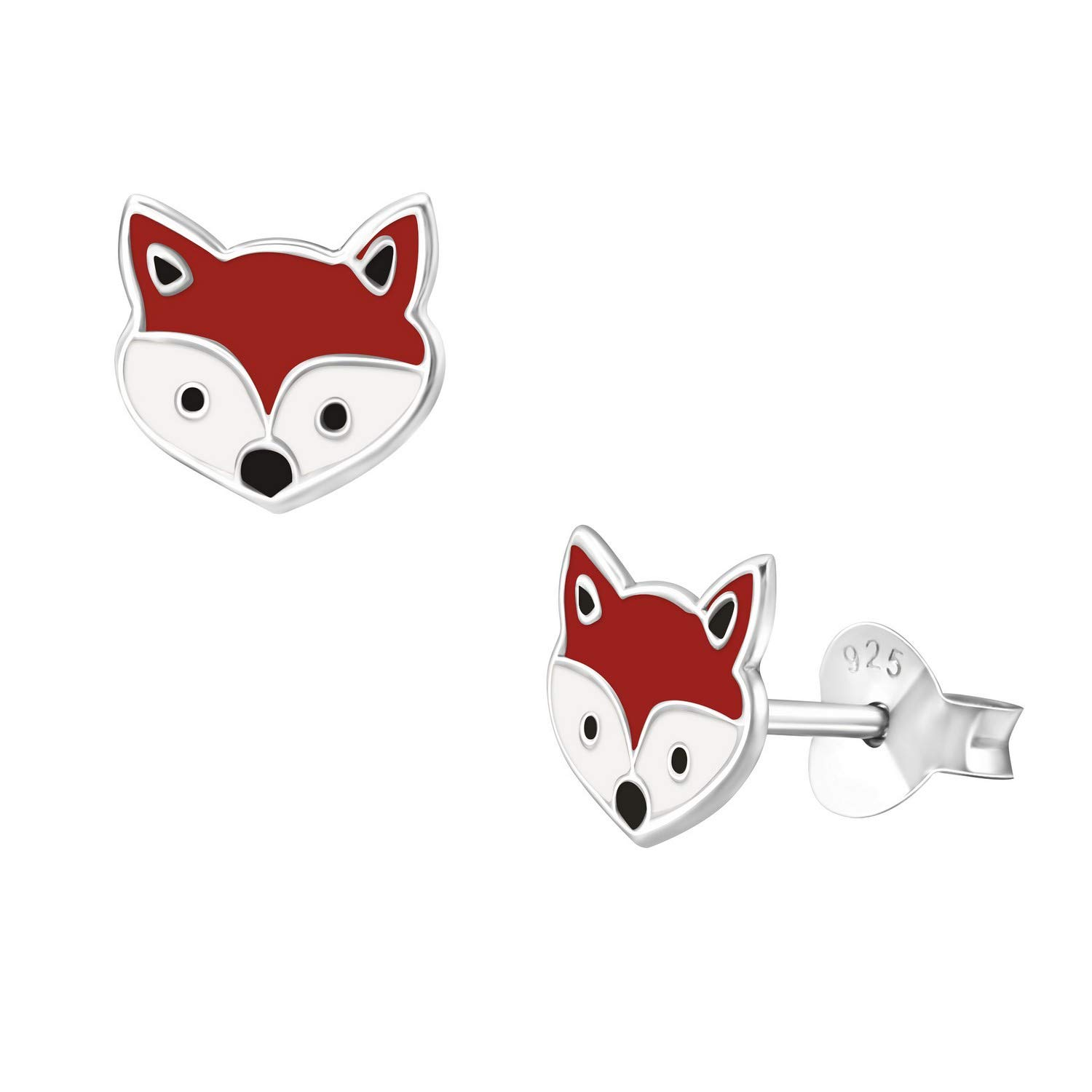 942991a2b6e28 Amazon.com: 7mm Tiny Cute Red Fox Ear Studs Gold Plated 925 Sterling ...