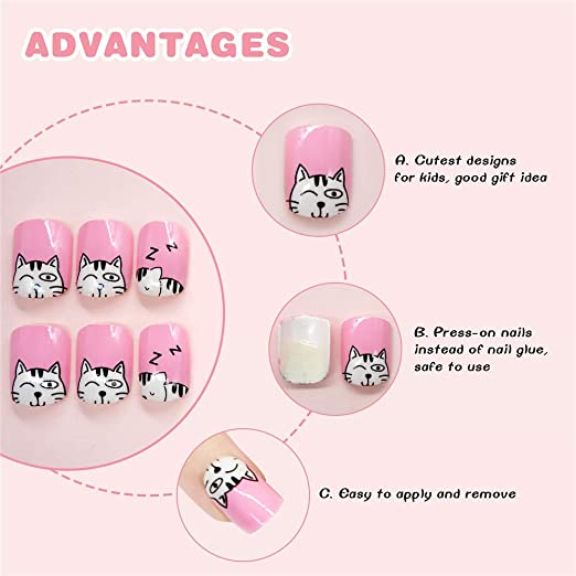 Geometría Nail Art Tip ABS Uñas Postizas Perfect Length Full Cover Beauty Art Decoración Manicura para Mujeres Adolescentes Niñas 24 Unidades(C27): ...