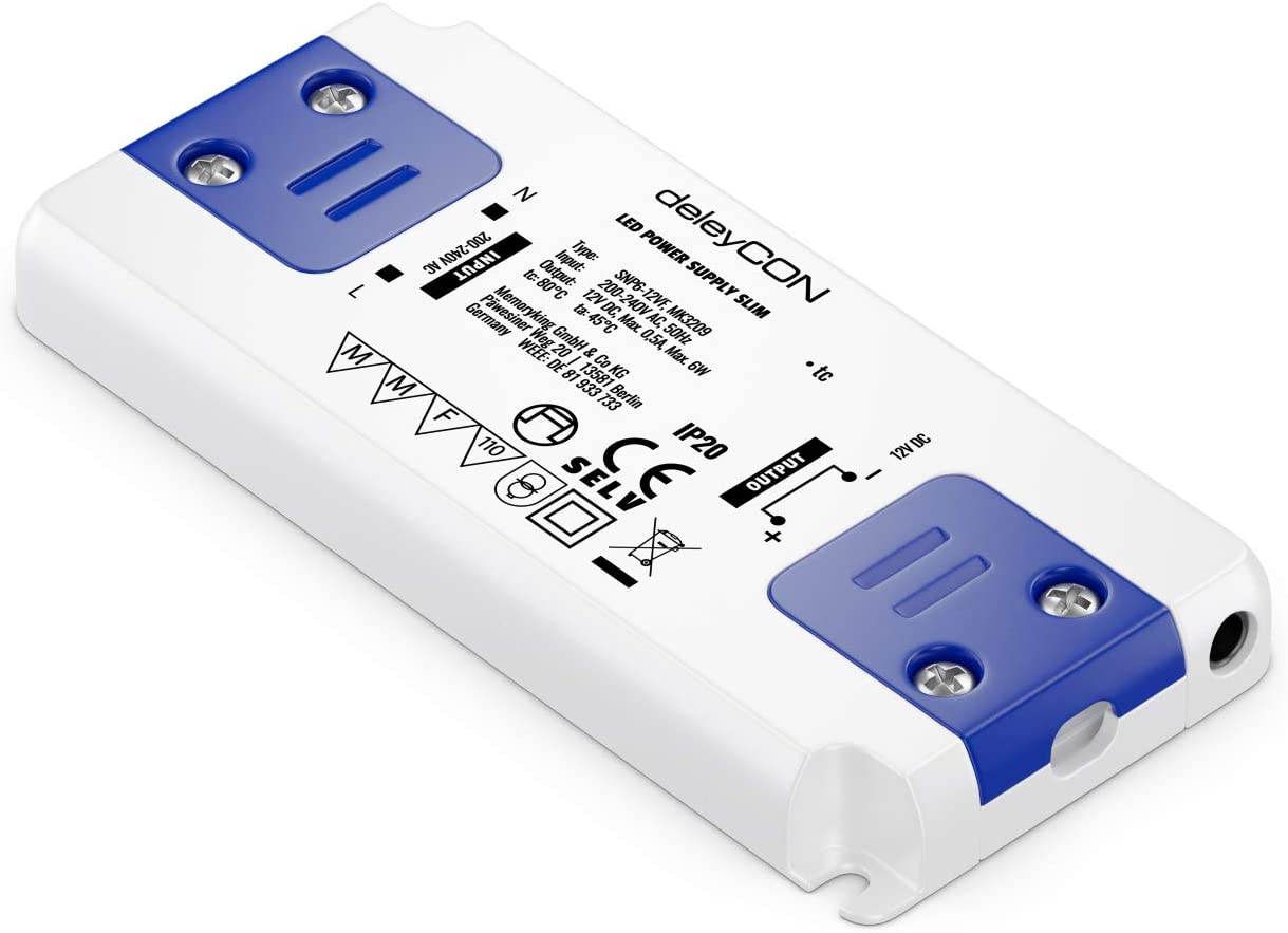 deleyCON 12V LED Transformador Adaptador Slim 0-6W 200-240V a 12V DC LED Lámparas Cintas de Luz G4 MR11 MR16 Luces Sobrecarga Sobrecalentamiento Cortocircuito