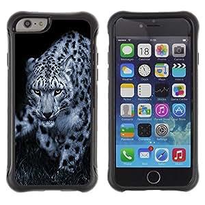 All-Round híbrido Heavy Duty de goma duro caso cubierta protectora Accesorio Generación-II BY RAYDREAMMM - Apple iPhone 6 - Leopard Black White Animal Nature Hint