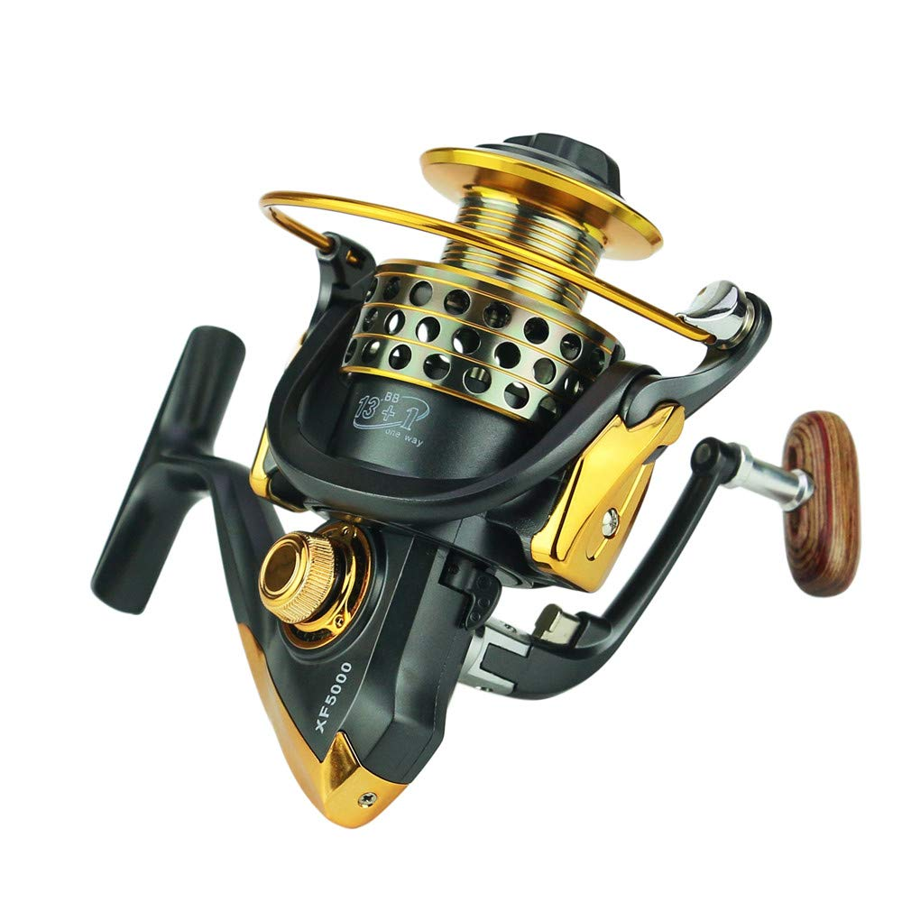 Zeceouar Lightweight Spinning Reel Fast Speed Sturdy Fishing Reels with Stainless Steel High Performance 13 1 Ball Bearings 5.5 1 Gear Ratio,Smooth Fishing Reels Freshwater Lake