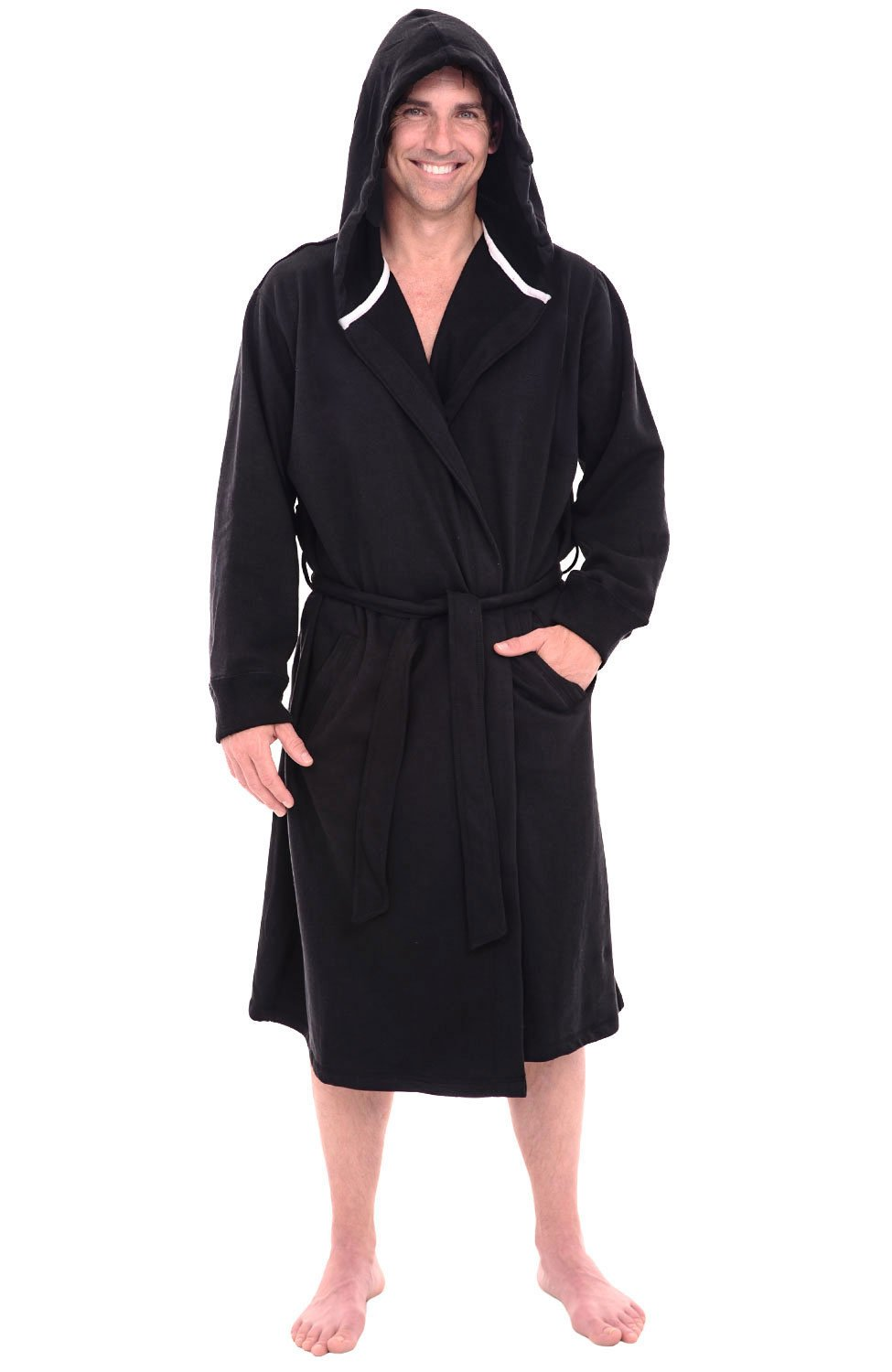 Del Rossa Mens Cotton Robe, Sweatshirt Style Hooded Bathrobe A0311