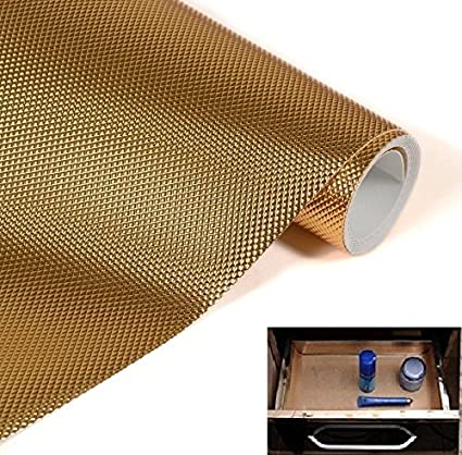 Skywalk Multipurpose Textured Anti-Slip Eva Mat - For Fridge, Bathroom, Kitchen, Drawer, Shelf Liner, Size 45X120 Cm(Golden Color)