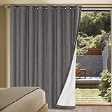 Linen Blackout Curtains Durable Thick Textured Linen Look 100% Blackout Patio Door Curtain Anti Rust Grommet Extra Wide Slidi