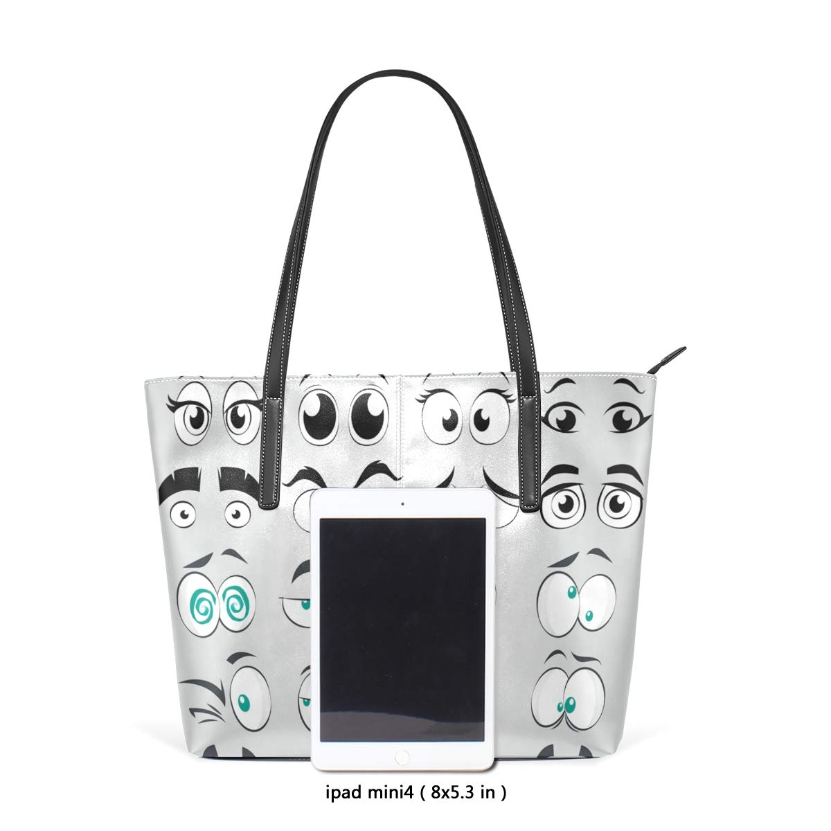Funny Eyes1 Womens PU Leather Tote Shoulder Bags Handbags Casual Bag