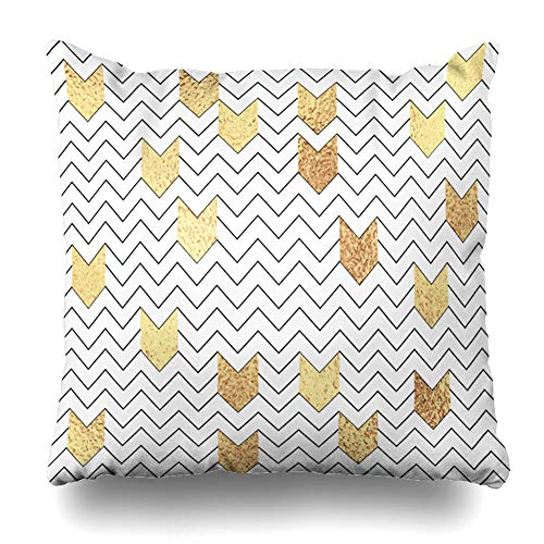 Ahawoso Throw Pillow Cover Pattern Geometric Zig Zag Abstract Modern Gold Luxury Chevron Design Art Home Decor Pillow Case Square Size 16 x 16 Inches Zippered Pillowcase ()