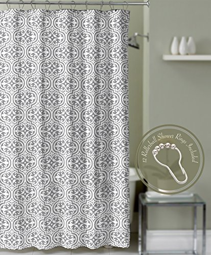 Gray Roller Ball (Gray Fabric Bathroom Shower Curtain Quatrefoil Medallion with Roller Ball Hooks)