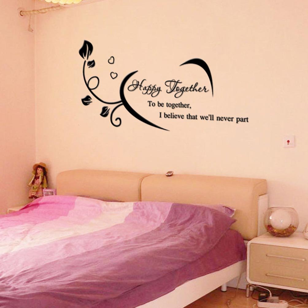 BIBITIME Butterlies Sayings Quotes Where Life Begins Love Never Ends Flower Family Wall Sticker Inspirational Vinyl Decal for Living Room Bedroom Nursery, 29.52 x 13.38 29.52 x 13.38