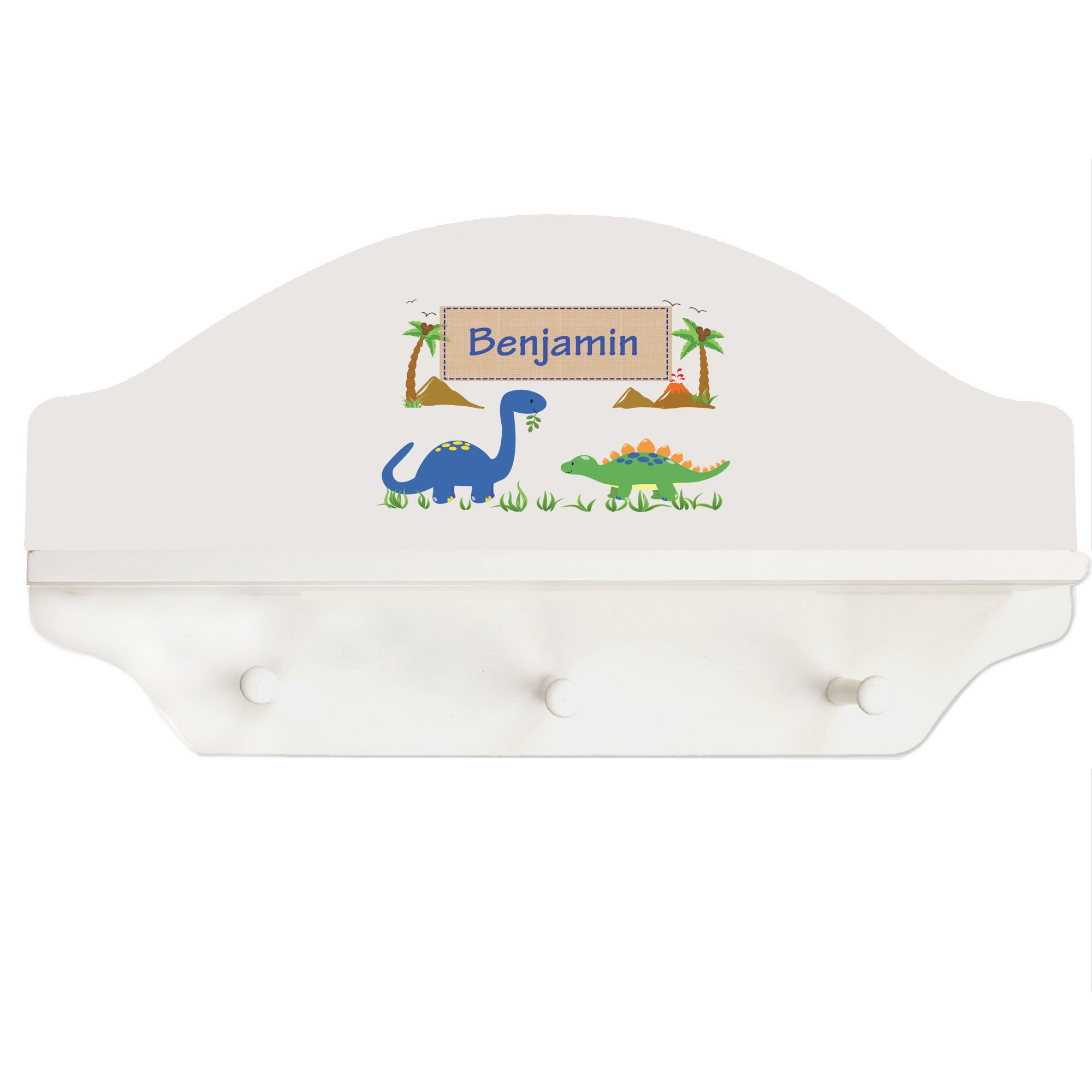 Personalized Dinosaurs White Three Peg Shelf