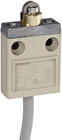 5A at 250VAC and 4A at 30VDC Rated Current Omron D4C-1620 Compact Enclosed Limit Switch 3m Cable Length SJT Cable O Roller Lever