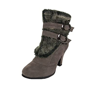 Nb200-08 Women's High Heel Ankle Boots With Fake Fur Trim