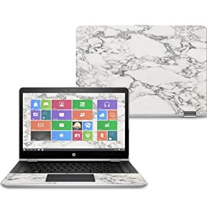 "MightySkins Skin for HP Pavilion x360 14"" (2017) - White Marble 