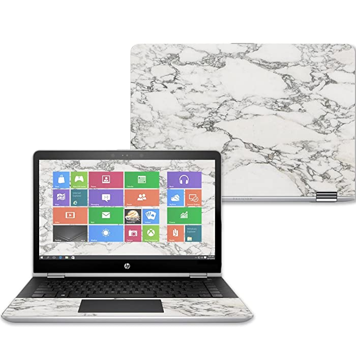 """MightySkins Skin for HP Pavilion x360 14"""" (2017) - White Marble 