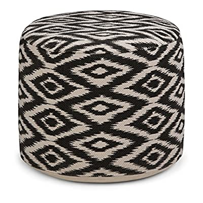 Simpli Home AXCPF-20 Kinney Transitional Round Pouf in Patterned White, Black Cotton