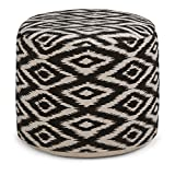 Simpli Home Kinney Round Pouf, Patterned White and Black