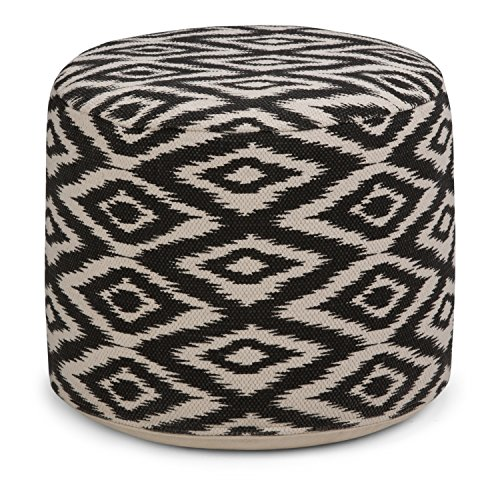 Simpli Home Kinney Round Pouf, Patterned White and Black by Simpli Home