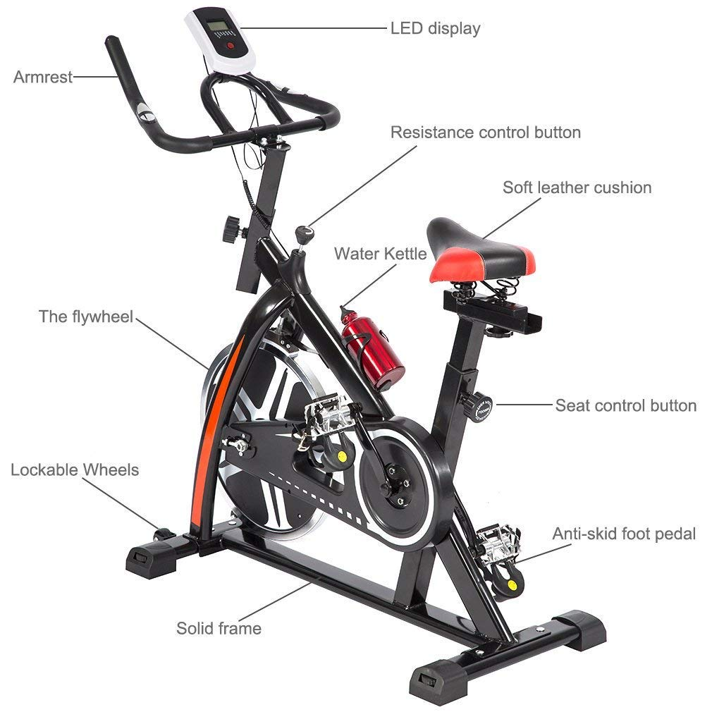 BestMassage Cycling Bike Exercise Bike Pro Indoor Cycling Spin Bike Trainer Bicycle Cardio Fitness Heart Pulse W/LED Display Stationary Indoor Pro Indoor Training Equipment by BestMassage (Image #4)