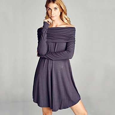 ccb726d767de Image Unavailable. Image not available for. Color  Steel Grey Off the  Shoulder Round Hem Dress