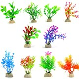 10 Pack Artificial Aquarium Plants, Small Size 4...
