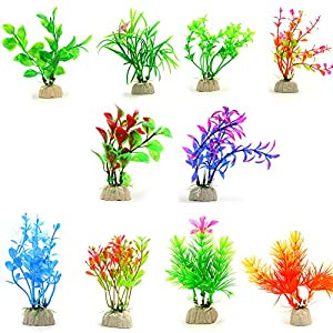 COMSUN 10 Pack Artificial Aquarium Plants, Small Size 4 to 4.5 inch Approximate Height Fish Tank Decorations Home Décor Plastic Assorted Color 28