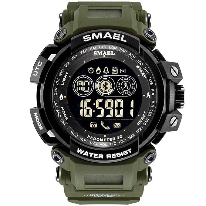 474d601c7 IAMUP SMAEL Fashion Men's Smart Watch Popular Bluetooth Digital Sports  Wrist Watch Waterproof Army Green
