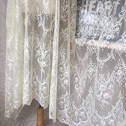 Dark Ivory Ivory Lace Fabric Eyelash Chantilly Floral Bridal//Wedding Dress Flower African Lace Table Cloth DIY Crafts Scallop Trim Applique Ribbon Curtains 300cmx150cm ALE02