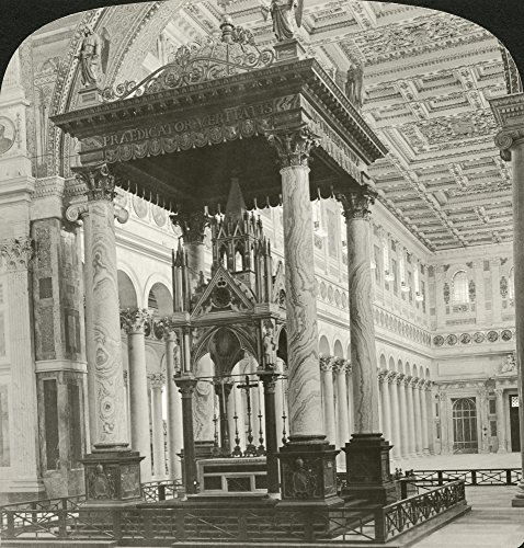 Posterazzi Nthe Altar at The Papal Basilica of Saint Paul Outside The Walls in Rome Italy. Stereograph 1902. Poster Print by, (18 x 24) (Basilica Of Saint Paul Outside The Walls Rome)