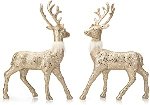 ARCCI Reindeer Decorations Standing Christmas Figurines Deer, Gold Glitter Holiday Reindeer (Champagne Gold)