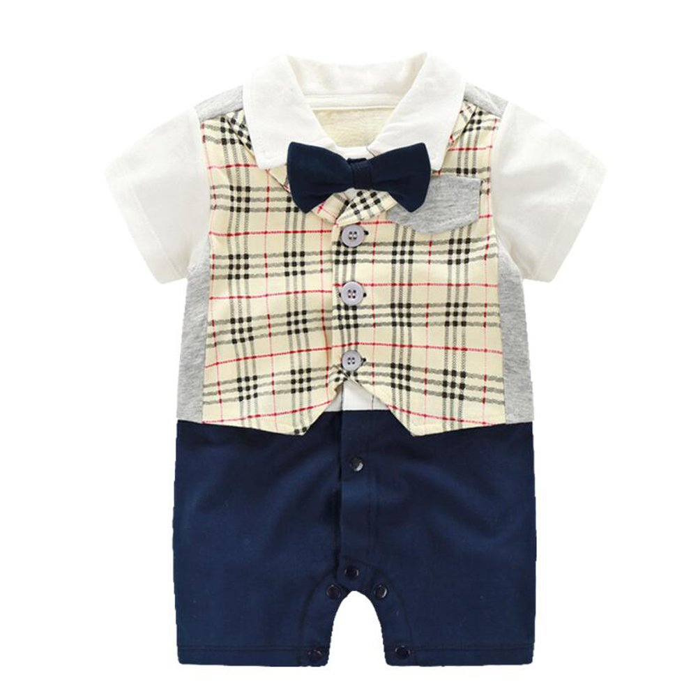 Fairy Baby Baby Boy Formal Outfit Short Sleeve Tuxedo Plaid Gentleman Suit US-S178-01