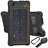 Hobest Solar Charger 10000mAh,Water-resistant Outdoor Solar Power Bank with LED Flashlight,Dual USB Portable Charger Solar for Smartphones,GoPro Camera,GPS and Emergency Travel (Orange)