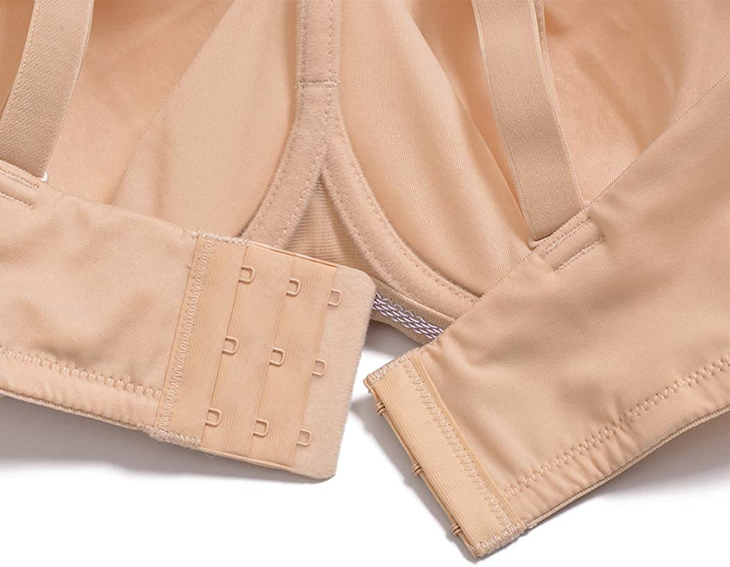 YANDW Strapless Full Coverage Supportive Bra Multiway Straps Removable Pads Minimizer Bandeau