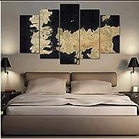 syssyj Nessuna Cornice Modulare HD Stampato S Poster Quadro Immagini A Parete 5 Pannello Game of Thrones Mappa Arte Pittura Decorazione della Casa Soggiorno