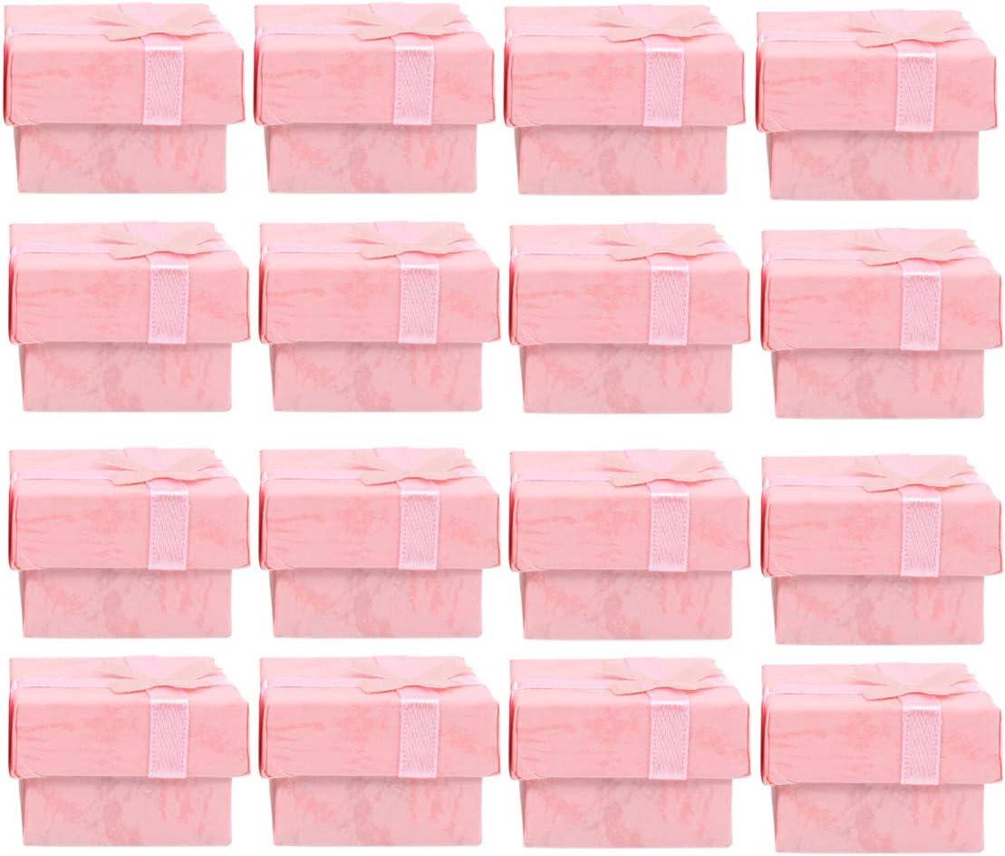 OUNONA 24pcs Joyero organizadores cajas de regalo de almacenamiento para pendiente pulsera collar (rosa)