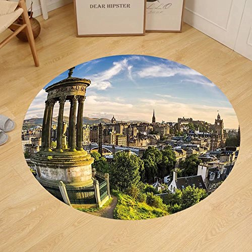 Gzhihine Custom round floor mat Cityscape Edinburgh Town Aerial View of Historical Buildings Heritage Panorama Art Bedroom Living Room Dorm Fern Green Blue - Edinburgh Outlets