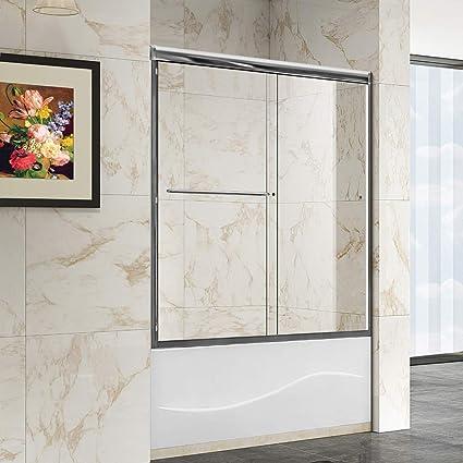 Sliding Walk In Shower Doors.Elegant Sliding Tub Glass Shower Door 60 X 62 Semi Frameless 5 16 Heavy Clear Shower Glass Panel Brushed Nickel Finish